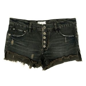Free People Shorts Denim Jeans Cut-Off Button Fly